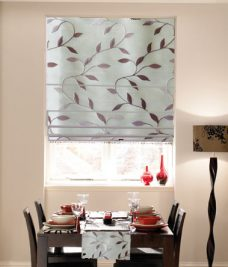 Hermionie Petal Roman Blind set in a recess window