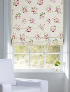 Jessamy Blossom Roman Blind set in a recess window
