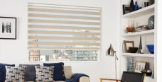 Milan Ivory Duplex Roman Blind set in a lounge