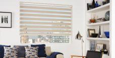 Milan Ivory Duplex Roman Blind set in a lounge