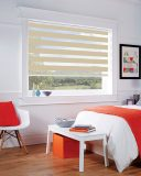 Milan Sand Duplex Roman Blind set in a bedroom