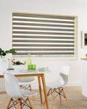 Milan Taupe Duplex Roman Blind set in a kitchen diner