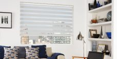 Milan White Duplex Roman Blind set in a lounge