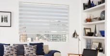 Milan White Duplex Roman Blind set in a lounge
