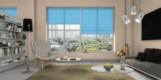 Three Palette Blue Roller Blinds in an office