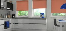Three Palette Copper Roller Blinds in a kitchen