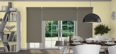 Three Palette Olive Roller Blinds in a dining room
