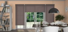 Three Palette Espresso Roller Blinds in a dining room