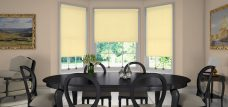Three Palette Lemon Roller Blinds in a dining room