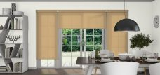 Three Palette Muted Gold Roller Blinds in a dining room