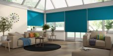 Four Palette Ocean Roller Blinds in a conservatory