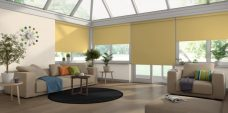 Four Palette Primrose Roller Blinds in a conservatory