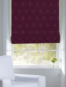 Robin Grape Roman Blind fitted in a recess window