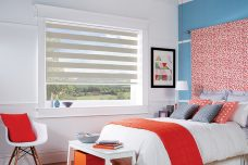 Sienna Biscuit Duplex Blind in bedroom recess window