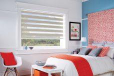 Sienna Biscuit Duplex Blind in bedroom recess window