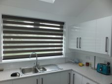 Sienna Charcoal Duplex Blind in a kitchen