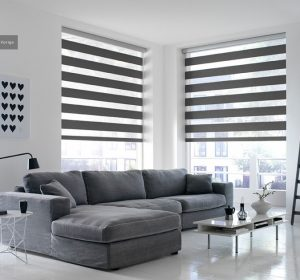 Two Sienna Pewter Duplex Blinds in a lounge