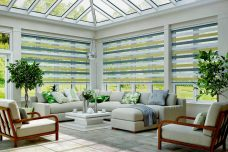 Four Sorrento Sahara Duplex Blinds in a conservatory
