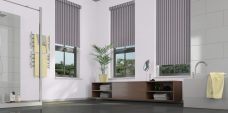 Three Strata Mulberry Blinds in a bathroom