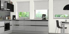 Three Strata Snowdrop blinds in a kitchen