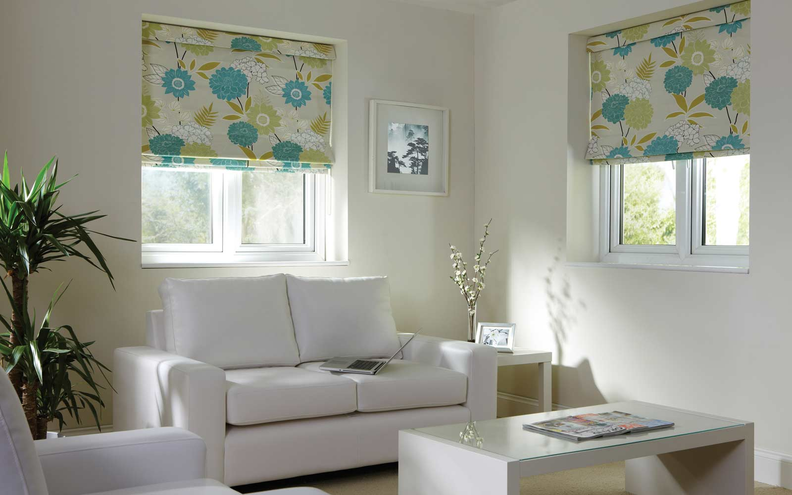 Two Tiffany Roman Blinds set in a lounge close up