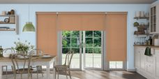 Three Topaz Copper Roller Blinds in a kitchen setting