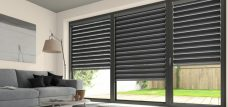 Three Tuscany Ebony Duplex Blinds fitted in a lounge