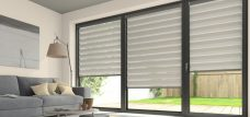 Three Tuscany Ivory Duplex Blinds fitted in a lounge
