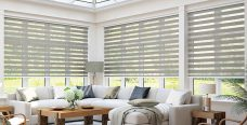 Three Tuscany Mink Duplex Blinds fitted in a conservatory