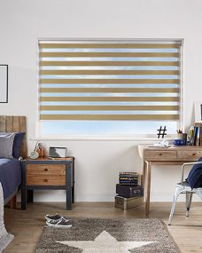 Venice Gold Duplex Blinds in a bedroom