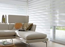 Three Venice White Duplex Blinds in a conservatory