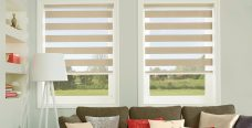 Two Verona Gold Duplex Blinds in a lounge