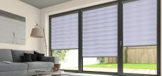 Three Verona White Duplex Blinds set in a lounge