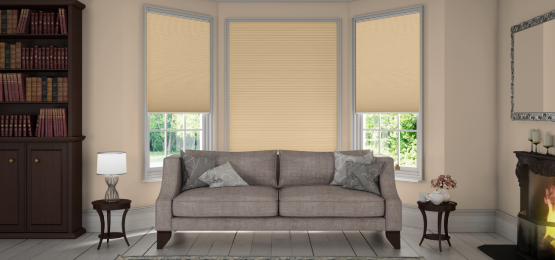 Unix Tusk Duette Blackout Fire Resistant Blinds in a lounge