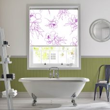 Angelica Pink Senses Roller Blind recess fitted in a bathroom