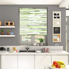 Barcode Linear Lime roller blind in a kitchen