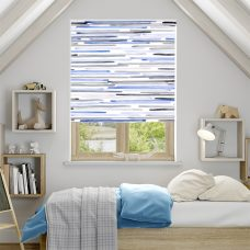 Barcode Linear Blue Roller Blind in a bedroom