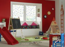 Bubbles Blue Roller Blinds in a playroom