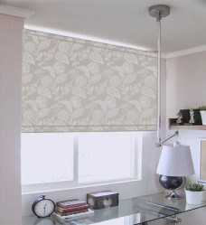 Claudia Misty Moon Roller Blind in an office