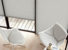 Three Duette Pigeon Blackout 64 mm blinds