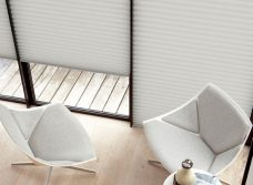 Three Duette Seagull Blackout Blinds 64 mm hung side by side