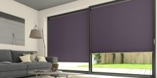 Two Duette Classic Alexandria Blackout Blinds set in a lounge door