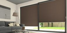 Two Duette Classic Bambi Blackout Blinds set in a lounge door