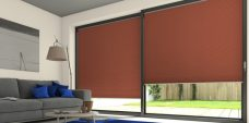Two Duette Classic Caramel Crisp Blackout Blinds set in lounge door