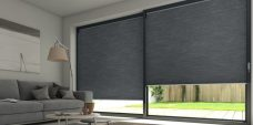 Two Old Pewter Duo Tone Blinds in sun room