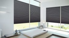 Two Duette Choclat Blinds