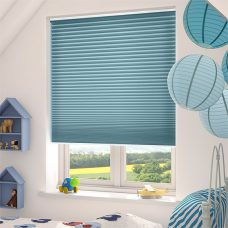 Duette Fixe Brittany Blue Duo Tone 25 mm Blind in a bedroom