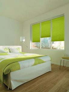 Duette Bright Spring Blackout 25 mm Blind in a bedroom