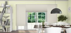 Three Duette Fixe Papyrus Blackout Blinds 32 mm