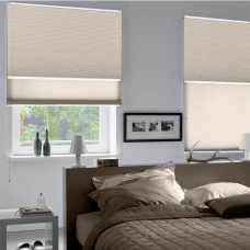 Two Duette Fixe Distant Hill Duo Tone 32 mm Blinds surface fitted in a bedroom